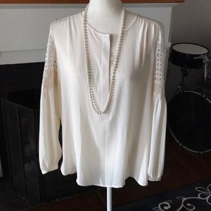 Cream Colored Crochet Sleeve Boho blouse
